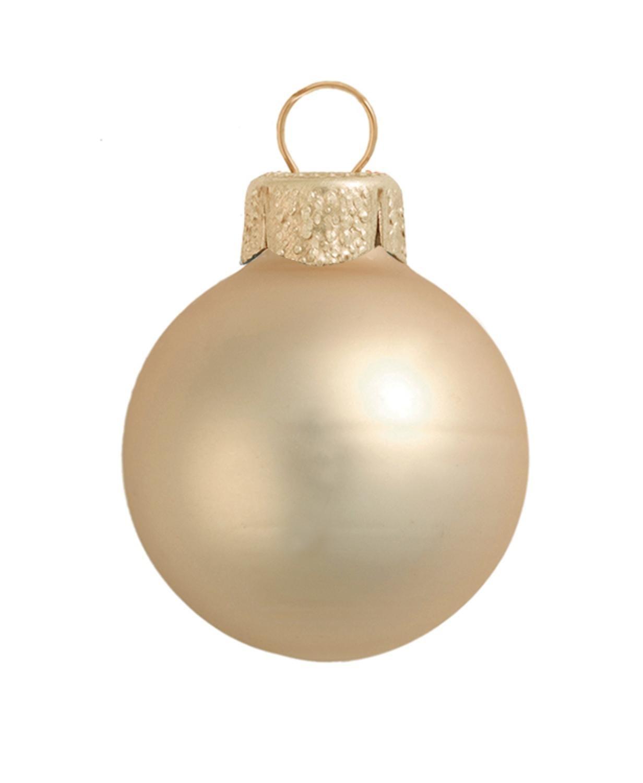 40ct Matte Champagne Gold Glass Ball Christmas Ornaments 1.25' (30mm) Whitehurst 30939190