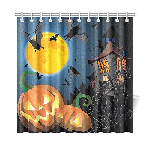 WHIOFE Home Decor Bath Curtain Pumpkin Halloween Card Bat Old House Polyester Fabric Waterproof Shower Curtain for Bathroom, 72 X 72 Inch Shower Curtains Hooks Included