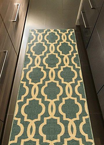 Teal Blue Moroccan Trellis Non Slip Hallway