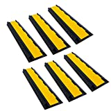 RK Rubber Cable Protectors, Dual Channel Cable Protector | Rubber Speed Bump (6 Pack)