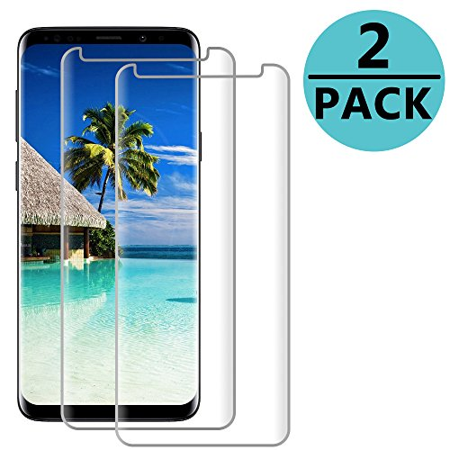 Galaxy S9 Plus Clear Screen Protector [3D Curved Edge][Scratch resistance][Case Friendly/96% coverage][Bubble-Free ] 9H Hardness Tempered Glass Screen Protector for Samsung Galaxy S9 Plus [2-Pack]