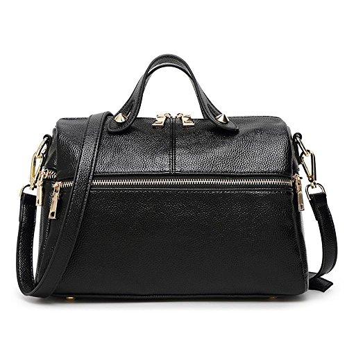 ocio 100 lap 30cmx14cmx19cm Black messenger las bolso bolso tamaño de moda solo señoras Penao Cxqw866