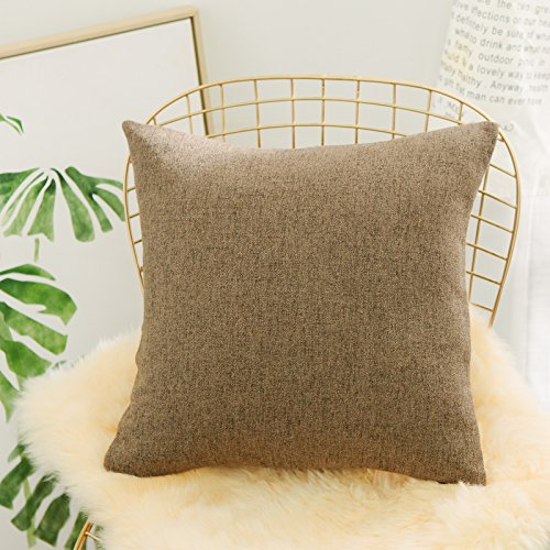 HOME BRILLIANT Decor Solid Striped Linen Chenille Blend Euro Shams Throw Pillow Large Cushion Cover Shell Pillowcase Protector for Patio, 26 x 26 inch(66cm), Olive