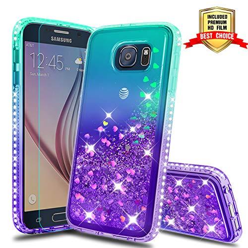 Galaxy S6 Case, Samsung Galaxy S6 Glitter Cases with HD Screen Protector, Atump Fun Glitter Liquid Sparkle Diamond Cute TPU Silicone Protective Phone Cover Case for Samsung Galaxy S6 Green/Purple