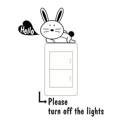 Amazon com: Light Switch Stickers,🐰🐰, Cute Cartoon Rabbit