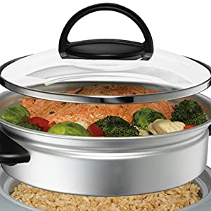 Oster CKSTRC61K-TECO Titanium Infused 6 Cup Rice & Grain Cooker with Steam Tray, Medium/One Size, Silver/Black