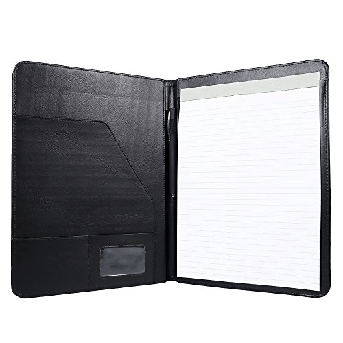 Padfolio/Resume Portfolio Folder - Interview/Legal Document Organizer & Business Card Holder - with Letter-Sized Writing Pad - with Writing ()