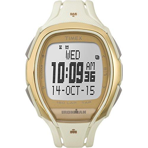 00 Ironman Sleek 150 Tapscreen Full-Size White/Gold-Tone Resin Strap Watch ()