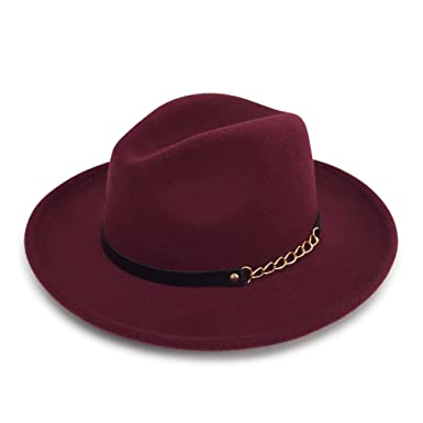 8f514cb21d Men s   Women s Wide Brim Fedora Felt Hat With A Band (BURGUNDY) at ...