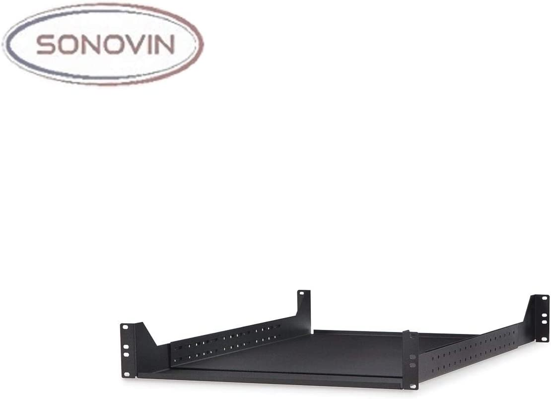 2U Color:Black Sonovin Rackmount 4 Point Adjustable Shelf