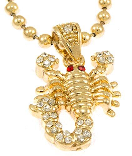 "Hot New Gold Tone Scorpion King Pendant Mini Pave Cz Stones Necklace Free 30"" Ball Chain"