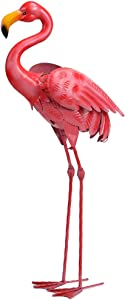 SFgift Metal Pink Flamingo 31.5 inch Tall Decoration Durable Standing Flamingo Statue Garden Sculptures for Indoor Outdoor Home Garden Ornament