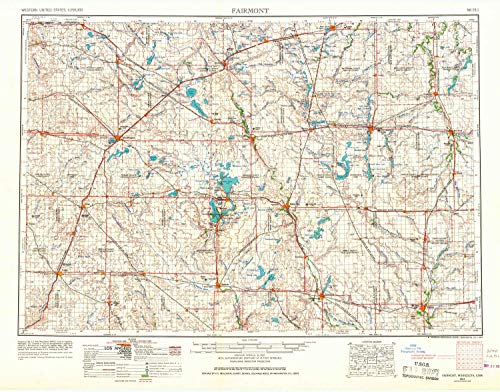 YellowMaps Fairmont MN topo map, 1:250000 Scale, 1 X 2 Degree, Historical, 1954, Updated 1967, 27.23 x 21.53 in - Paper