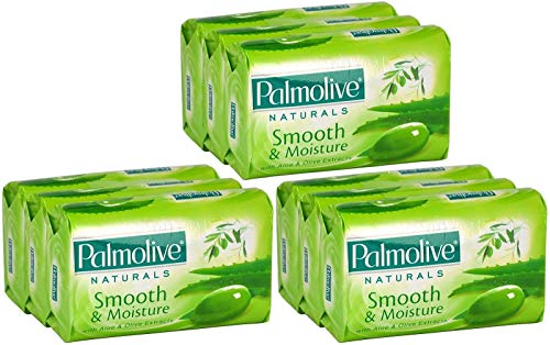 Palmolive Naturals Smooth Moisture Bar Soap, Aloe and Olive Extracts, 80 Gram / 2.8 Ounce, 3 Count (Pack of 3) Total 9 Bars