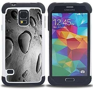 """SAMSUNG Galaxy S5 V / i9600 / SM-G900 - 3 en 1 impreso colorido de Altas Prestaciones PC Funda chaqueta Negro cubierta gel silicona suave (Rain Puddle Gris Naturaleza Fresca Primavera"""")"""