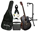 #3: Glen Burton GA204BCO-BK Acoustic Electric Cutaway Guitar, Black and On Stage XCG4 Black Tripod Guitar Stand, Single Stand
