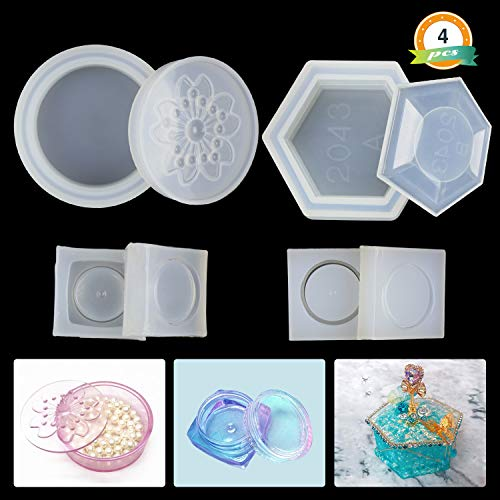 Silicone Resin Molds LET'S RESIN 4 Pack Resin Molds for Jewelry - Medium Size Sakura Hexagon Resin Box Molds with Lid and 2Pcs Cute Mini Clear Silicone Molds