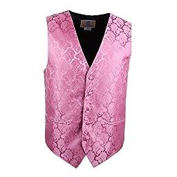 VS1014-XL Pink Pattern Mens Gifts Vest Tie Cufflinks Hanky Bowtie By Y&G