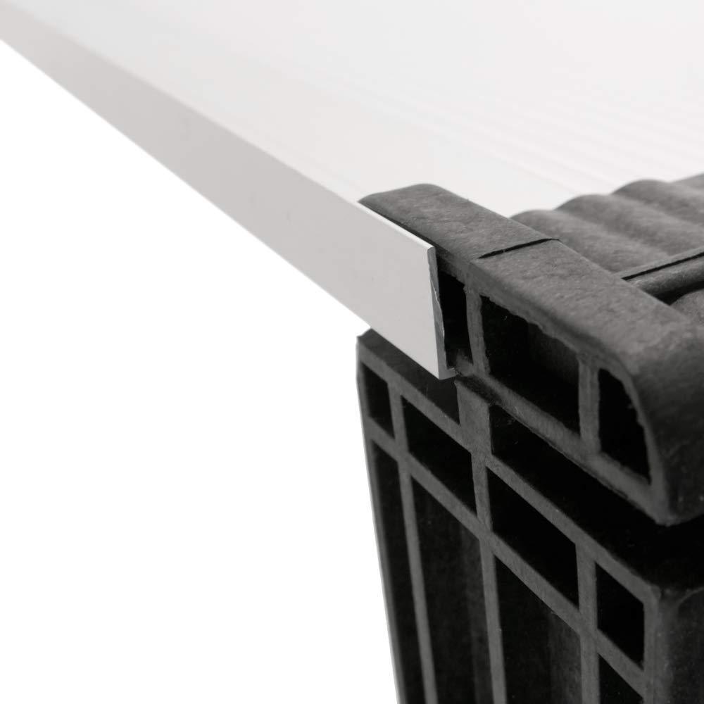 Tejadillo de protecci/ón Marquesina para Puertas y Ventanas Negro 150x100cm PrimeMatik