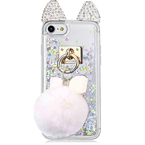 QKKE for iPhone 6S / 6 Case, Bling Diamond Cute Cat Ears Crystal Liquid Transparent Soft TPU with Bling Love Heart Floating Anti-Scratch Protective Phone Case (Puffer - Transparent Cat
