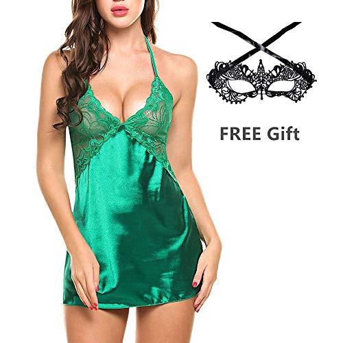 eck Lingerie Nghtwear Satin Nightgown Lace Chemise Mini Teddy Sleepwear,Green-S ()