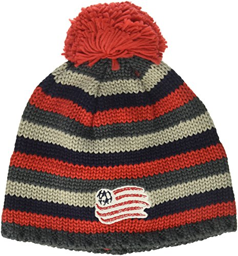 fbcc838f96756 adidas MLS New England Revolution Men's Textured Beanie with Pom, One Size,  Red/Navy/Grey