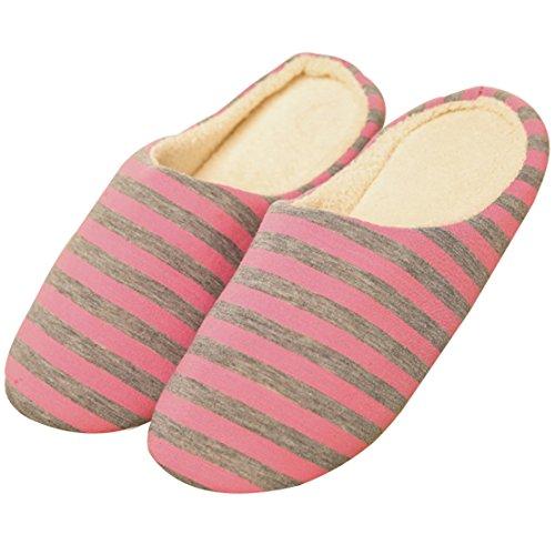 Men Women Indoor Slippers Winter Cotton Slippers Pink