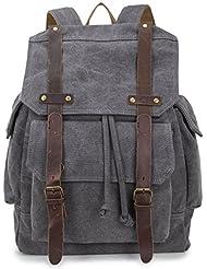 BUG Vintage Canvas Laptop Backpack Rucksack Casual Daypacks bookbag(Grey)