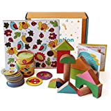 Shumee Box of Imagination (Activity Box for 2 Years Old+)- Wooden Chalk-o-Blocks Toy, Memory Cards Game and I Spy Counting Game