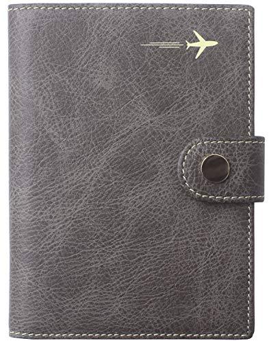 Passport Holder Cover Wallet RFID Blocking Leather Card Case Travel Document Organizer Grey ()