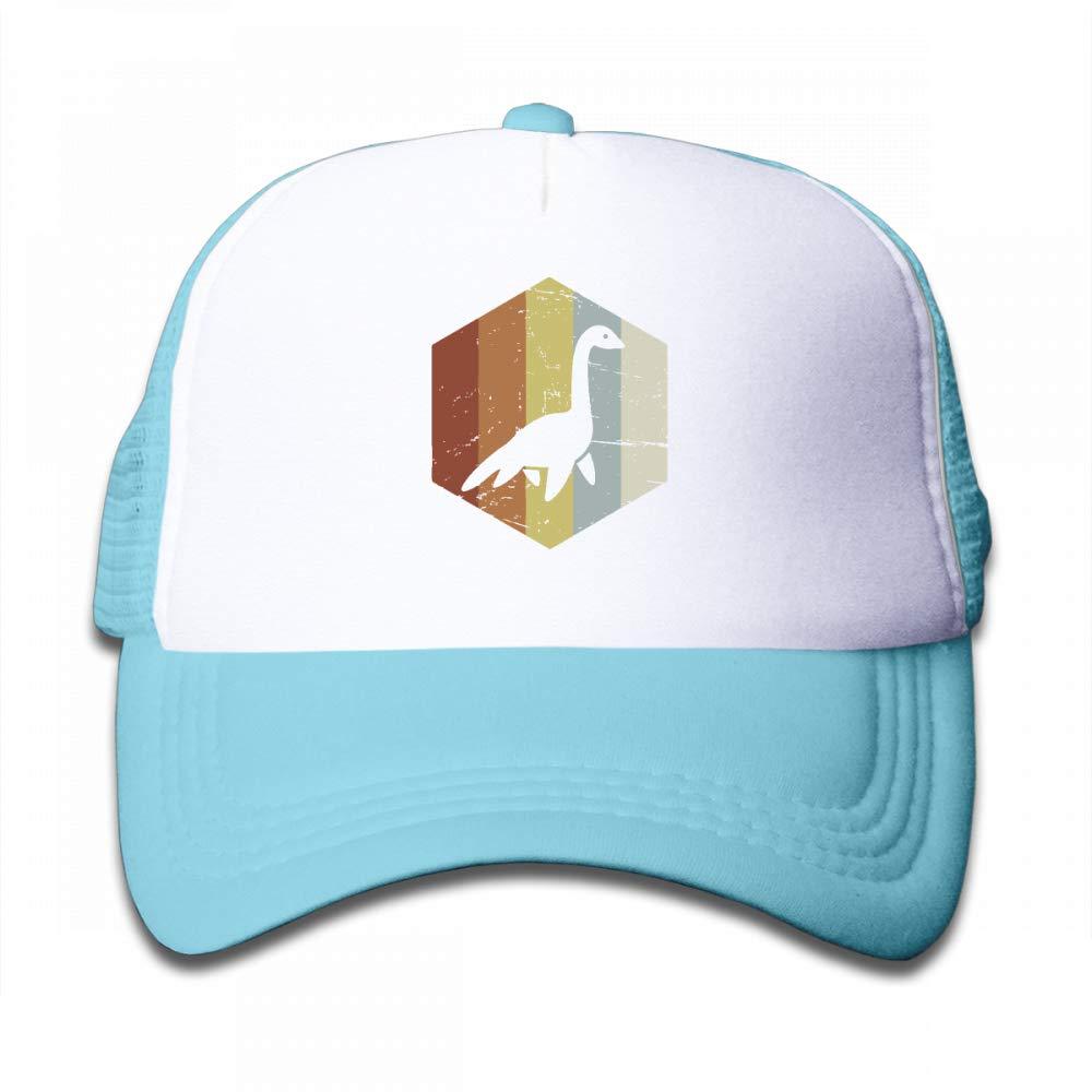 Kid's Boys Girls Retro 70s Loch Ness Monster Icon Youth Mesh Baseball Cap Summer Adjustable Trucker Hat