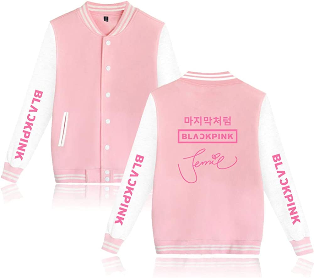 Blackpink Unterschrift Kpop Jacke Baseball Sweatshirt Blackpink Pullover Rose Lisa Jennie Jisoo Fans Freizeitm/äntel Langarm Tops Mode M/äntel f/ür M/änner Frauen
