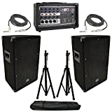 (2) Harmony HA-V10P 10'' DJ PA Speaker Peavey PV 5300 Powered Mixer Cables Stands