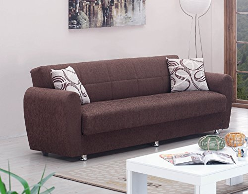 BEYAN Boston Collection Modern Convertible Folding Sofa Bed with Storage Space, Includes 2 Pillows, Dark (Contemporary Convertible Sofas)