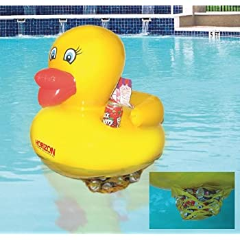 Swimming Pool Toy Rubber Duck Inflatable 24 Inches With Soft Drink Can  Cooler And Holder,