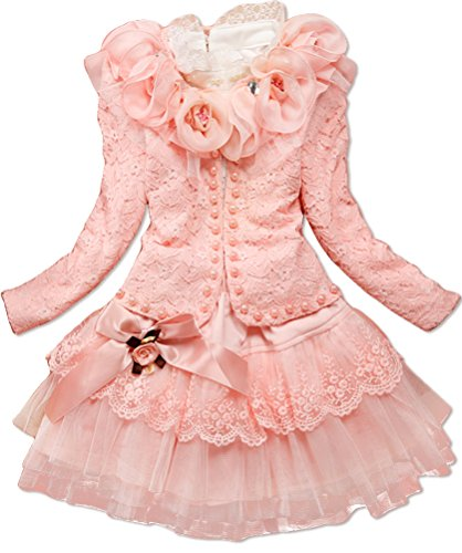 Dolpind Baby Girls 3 Piece Cardigan Clothes Kids TuTu Dress Outfit Clothing 5T/4-5 Years Light Pink