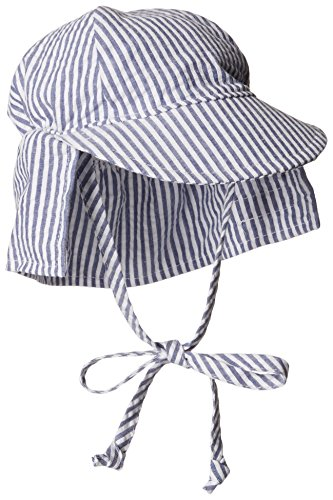 Flap Happy Cotton Flap Hat - Flap Happy Baby Boys' UPF 50+ Original Flap Hat with Ties, Chambray Stripe Seersucker, Large