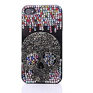 TY Colorful Zircon Metal Skull Ornament Back Case for iPhone 4/4S