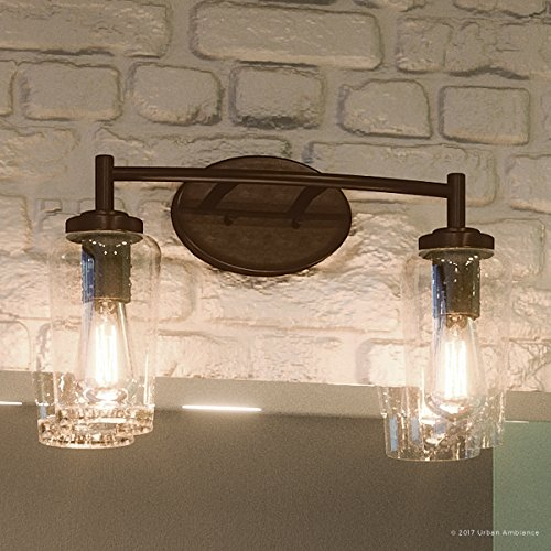 Luxury Vintage Bathroom Vanity Light, Medium Size: 10''H x 16''W, with Antique Style Elements, Elegant Estate Bronze Finish and Seeded Glass, Includes Edison Bulbs, UQL2271 by Urban Ambiance by Urban Ambiance