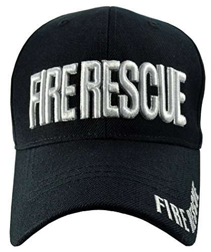 Fire Rescue Black Hat Black Brim White Embroidered Baseball (Fire Brim Cap)