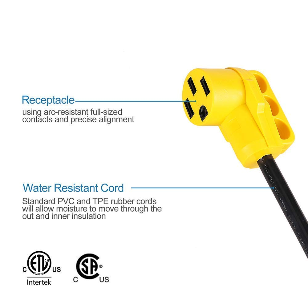 12 Dogbone Electrical Adapter with Handle 125V//3750W Wadoy 30A Male to 50A Female RV Adapter STW 10//3 Cord