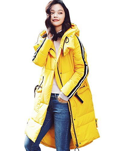 Artka Women's Winter Casual Sports Style Oversized Long Down Coats Parkas With Hood Yellow M by Artka