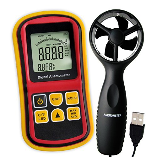 Gain Express 2-in-1 Digital Thermo-Anemometer, Air Flow Wind Speed Meter, 5 parameters (m/s, km/h, ft/min, knots & mph) with Thermometer Temperature, 0~45m/s Velocity Bar Graph Surf & Backlight ()