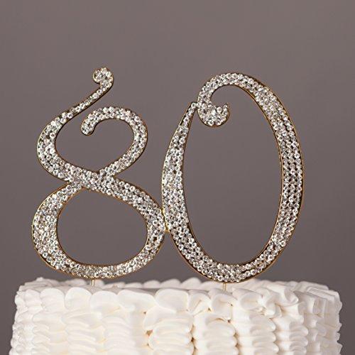 Rhinestone Number 80 Elegant Cake Topper