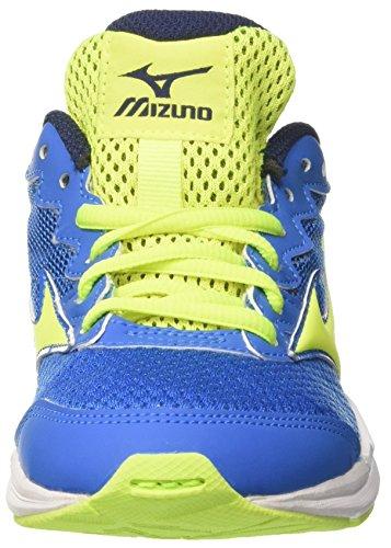 Mizuno Wave Rider Jnr, Zapatillas de Running Para Niños Multicolor (Directoireblue/safetyyellow/peacoat)