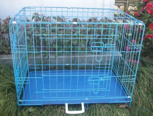30' 2 Door Blue Folding Dog Crate Cage Kennel LC ABS