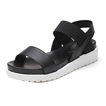 6950463be Women's Thick Sandals, Rakkiss Women's Summer Sandals Shoes Peep-Toe Low  Shoes Roman Sandals