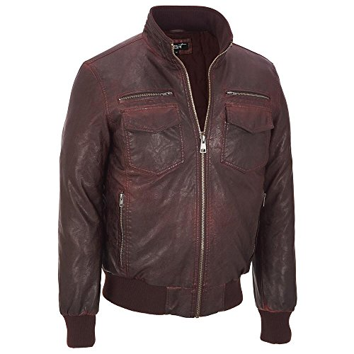 Black Rivet Mens Glossy Faux-Leather Jacket W/ Rib Knit S Wine