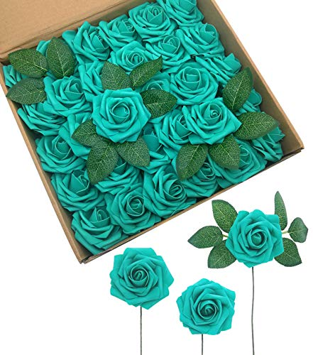 D-Seven Artificial Flowers 30PCS Real Looking Fake Roses with Stem for DIY Wedding Bouquets Centerpieces Party Baby Shower Home Decorations (Teal Green)