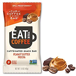 Eat Your Coffee Energy Snack Bar - Variety Pack (Peanut Butter Mocha, 12 Count)
